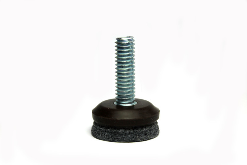 Screw-In Glide with Long-Life Felt - 1/4'' Diameter Thread x 1'' Length - Base Diameter 1''